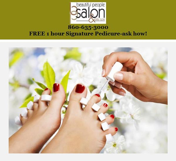 free 1 hour Signature Pedicure at Beautiful People Salon